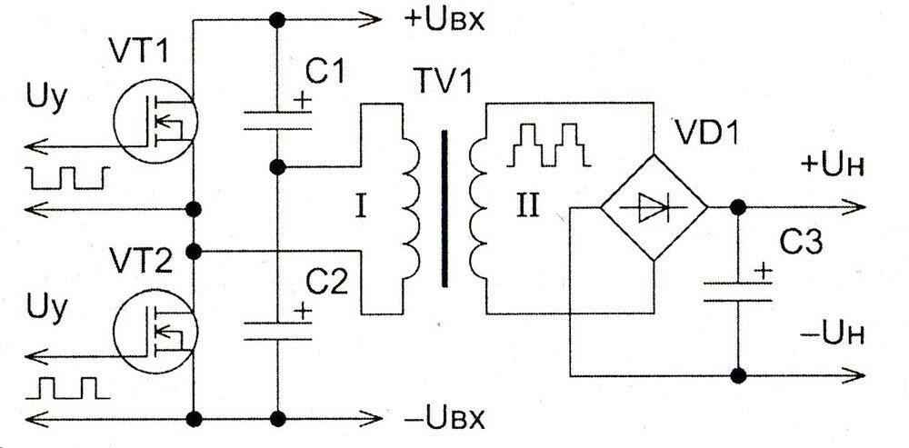 Получение ступеньки напряжения в двухтактной инверторной схеме