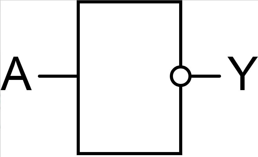 Изображение цифрового логического инвертирующего элемента НЕ на электрических схемах